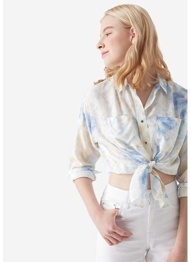 Mavi Batik Baskılı Gömlek Mavi